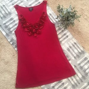 Mossimo Brick Red V-Neck Tank with Zipper Detail